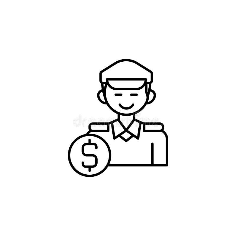 Steekpenning, politieagent, pictogram Element van corruptiepictogram Dun lijnpictogram voor websiteontwerp en ontwikkeling, app o vector illustratie