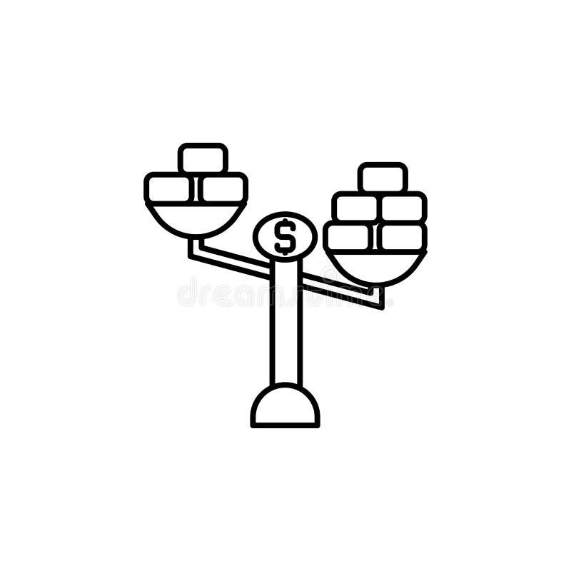 Steekpenning, schalen, gouden pictogram Element van corruptiepictogram Dun lijnpictogram voor websiteontwerp en ontwikkeling, app vector illustratie