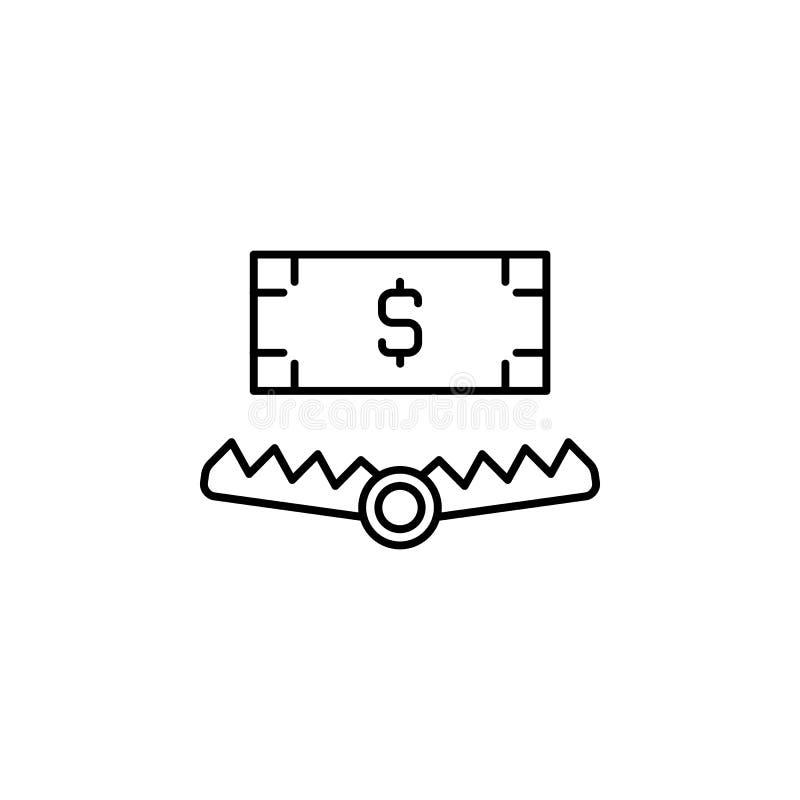 Steekpenning, valpictogram Element van corruptiepictogram Dun lijnpictogram voor websiteontwerp en ontwikkeling, app ontwikkeling stock illustratie