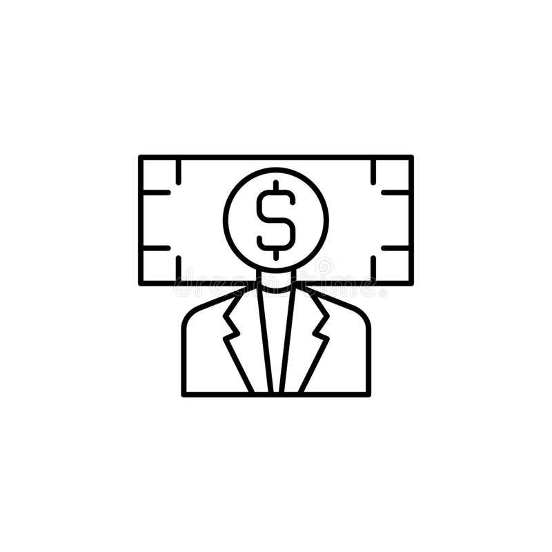 Steekpenning, zakenman, geldpictogram Element van corruptiepictogram Dun lijnpictogram voor websiteontwerp en ontwikkeling, app o royalty-vrije illustratie