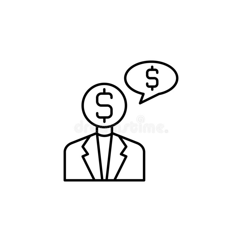 Steekpenning, zakenman, geldpictogram Element van corruptiepictogram Dun lijnpictogram voor websiteontwerp en ontwikkeling, app o stock illustratie