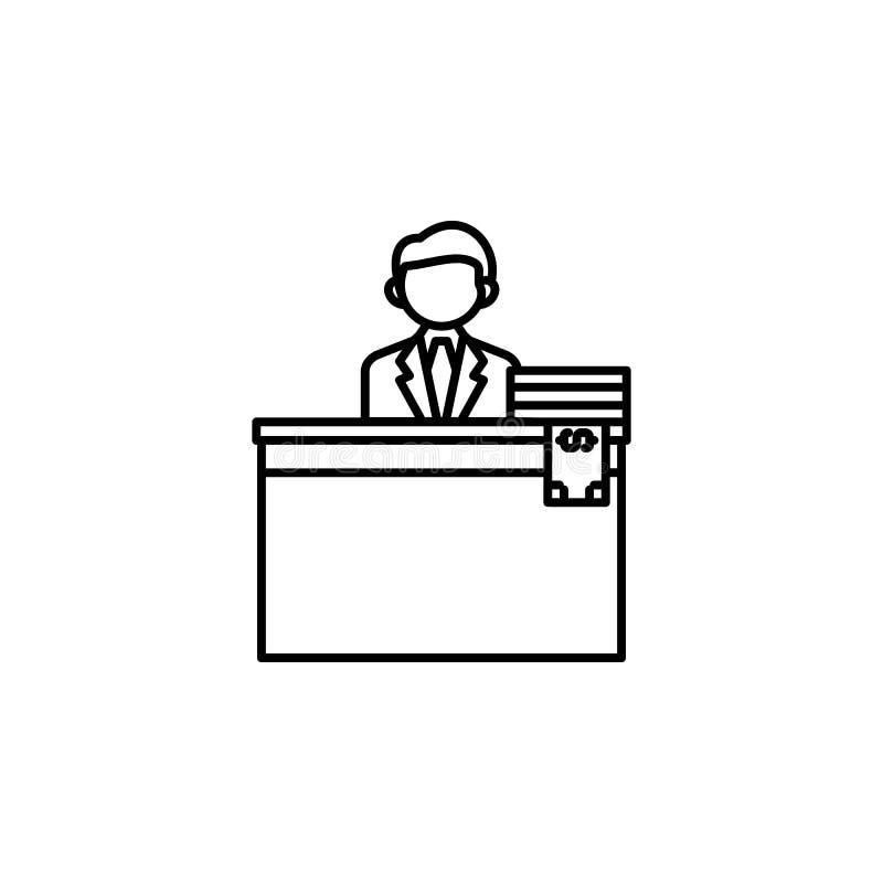 Steekpenning, zakenman, geldpictogram Element van corruptiepictogram Dun lijnpictogram voor websiteontwerp en ontwikkeling, app o vector illustratie