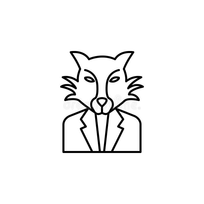 Steekpenning, zakenman, het pictogram van de wolfsmens Element van corruptiepictogram Dun lijnpictogram voor websiteontwerp en on vector illustratie