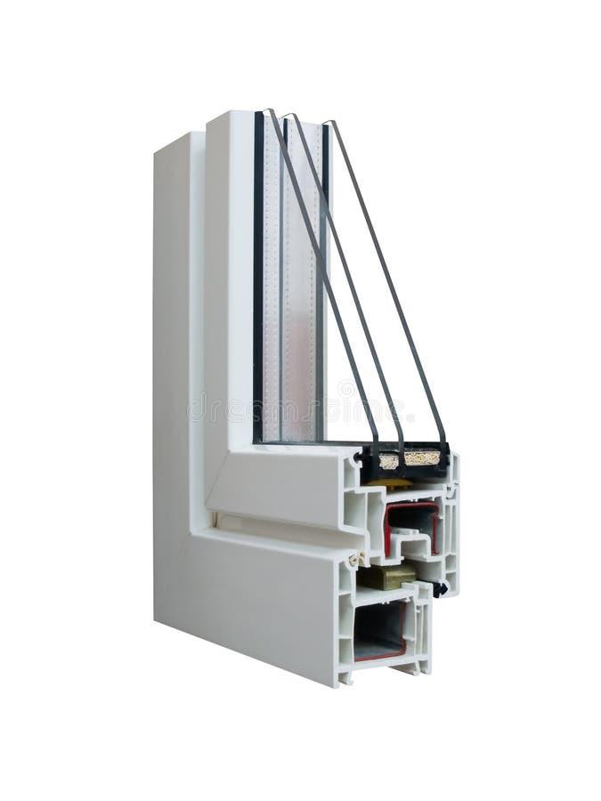 Steekproef 3 pvc van een venster stock afbeeldingen