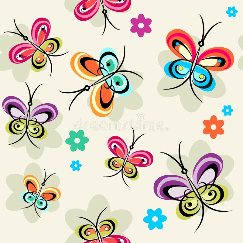 Steekproef met vlinders royalty-vrije illustratie