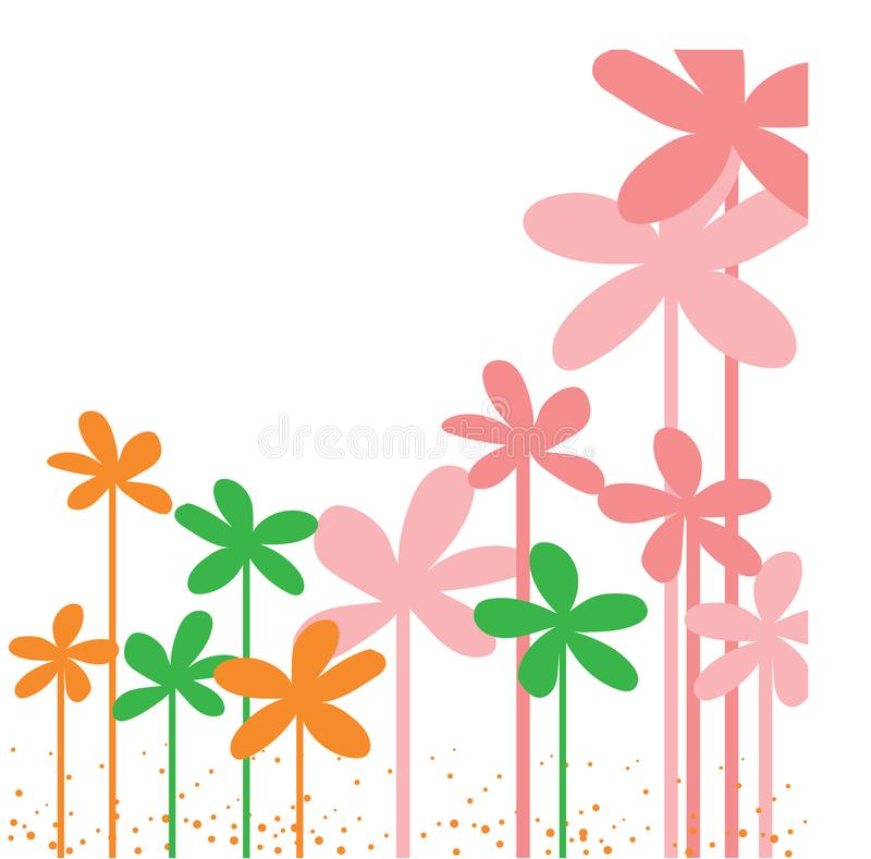 Steekproef uw tekst hier kaart met kleurrijke bloem in kader royalty-vrije illustratie
