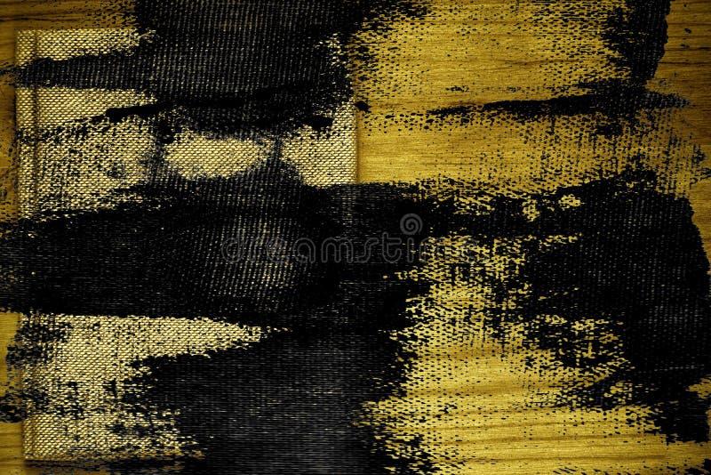 Steekproef van de Grunge de vuile ultra gele Prentbriefkaar, de oppervlakte van de linnenstof op houten lijst met vrije copyspace royalty-vrije stock fotografie