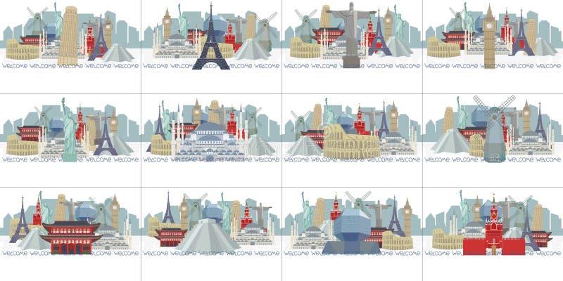 Steekproefkalender met panoramas van wereldgezichten stock illustratie