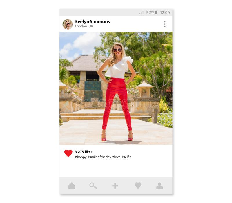 Steekproefontwerp van foto die mobiele app delen stock fotografie
