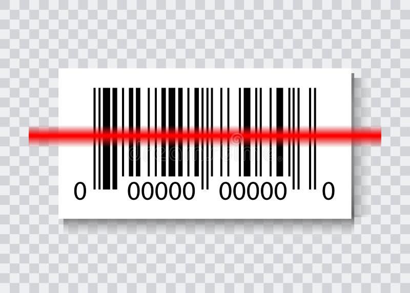 SteekproefStreepjescodes voor Aftastenpictogram met rode laser, Vector geïsoleerde Illustratie vector illustratie