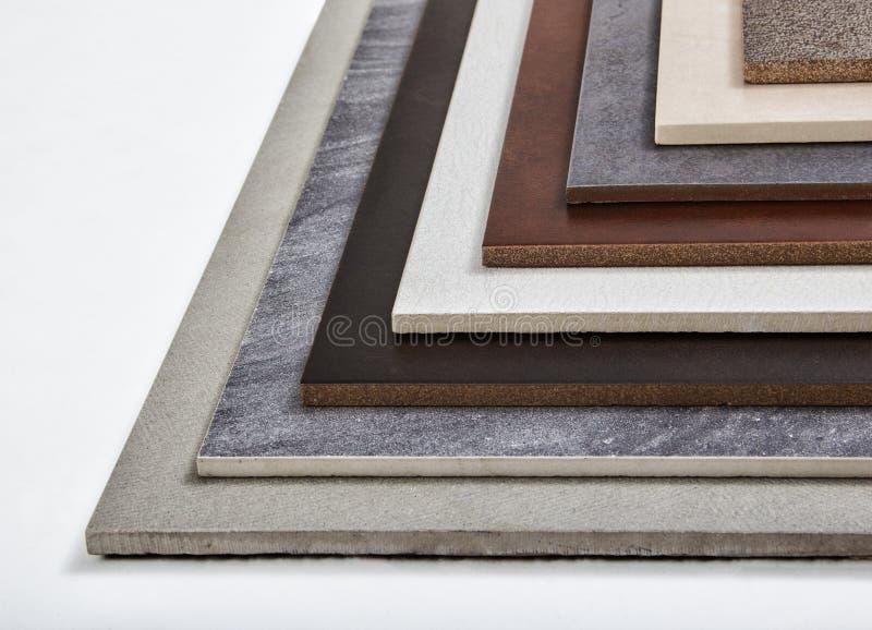 Steekproeven van een keramische tegel stock afbeeldingen