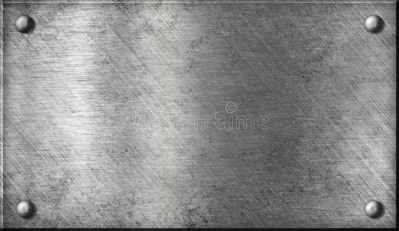 Steel or aluminium metal plate with rivets stock photos