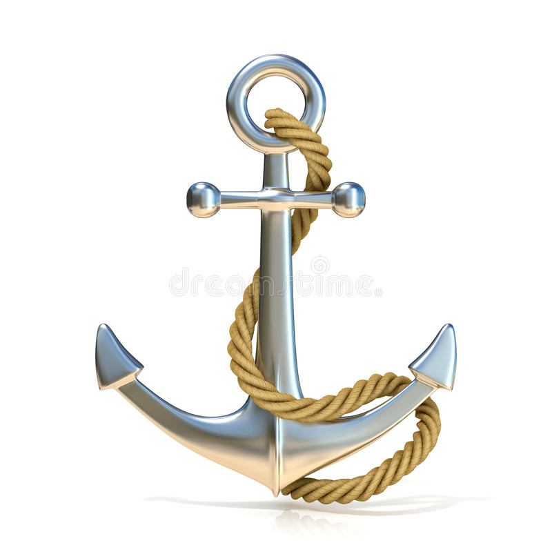 Steel anchor with rope stock photo