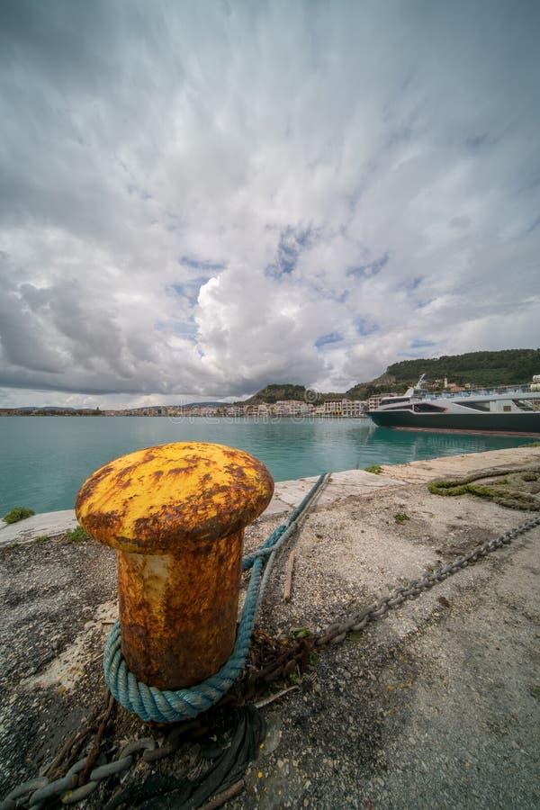 Metal anchoring bollard in Zakynthos Town. Steel anchoring bollard on the shore in the beautiful Zakynthos town, Greece royalty free stock photos