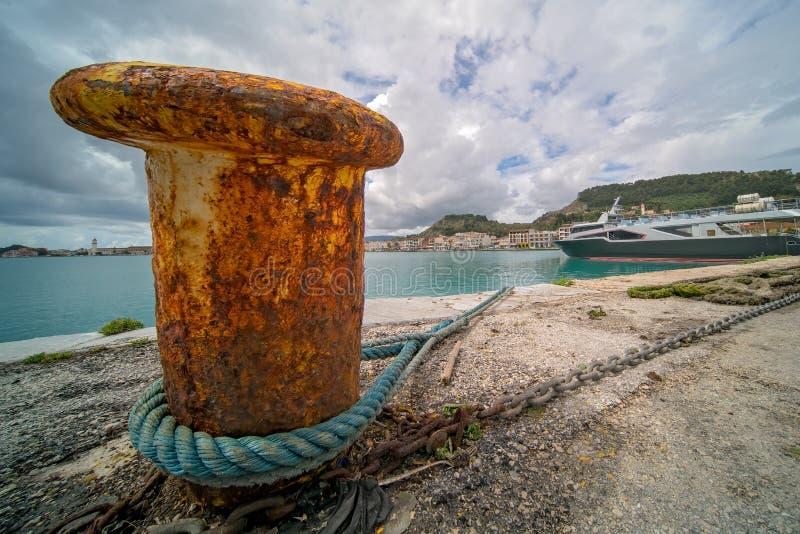 Metal anchoring bollard in Zakynthos Town. Steel anchoring bollard on the shore in the beautiful Zakynthos town, Greece royalty free stock photo