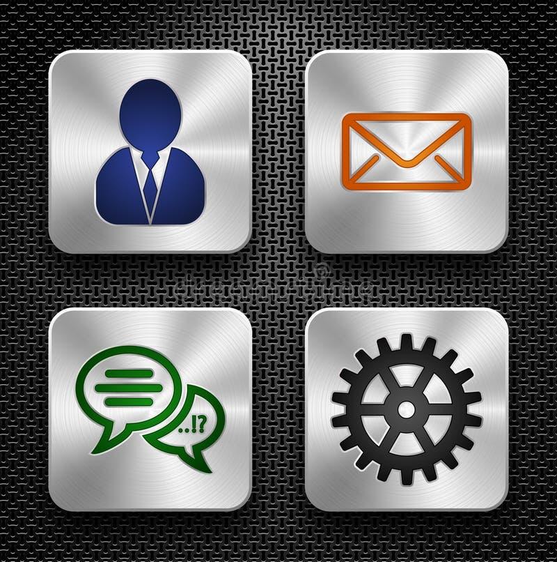 Steel App Icons Set Stock Photos