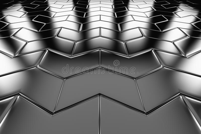 Steel arrow blocks flooring perspective view. Shiny abstract industrial background royalty free illustration