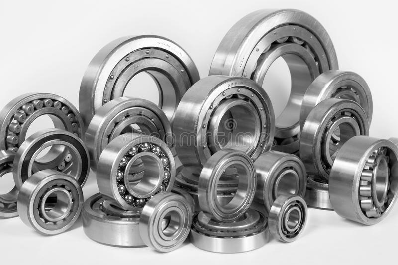 Steel ball bearings. Composition of steel ball bearings in closeup royalty free stock photo