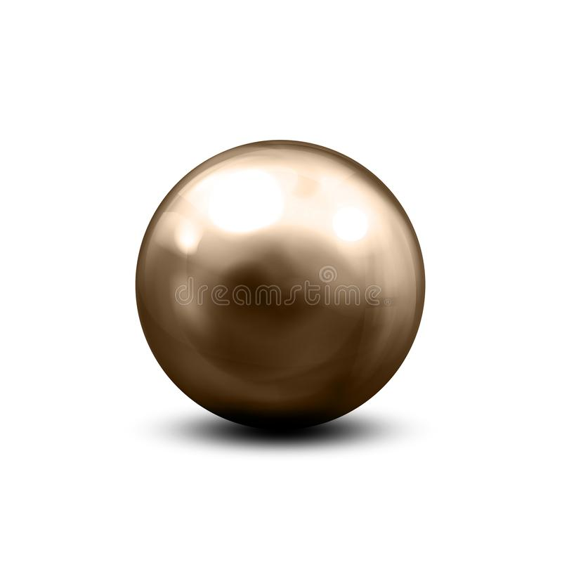 Steel balls with shadows from below. Metallic shiny sphere with various light reflections on chrome surface – vector royalty free illustration