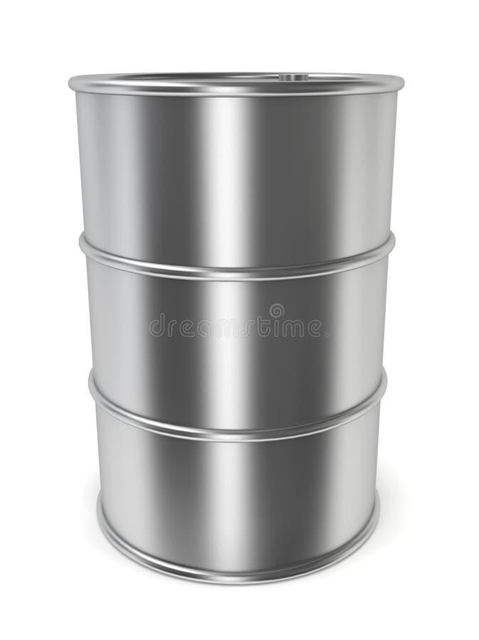 Steel barrel. 3d illustration on white background stock illustration