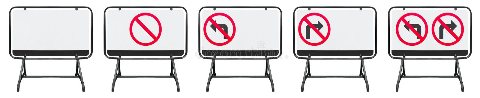 Steel barrier or traffic fence symbol isolated on white background with clipping path. Traffic barrier made of black iron. No left stock image