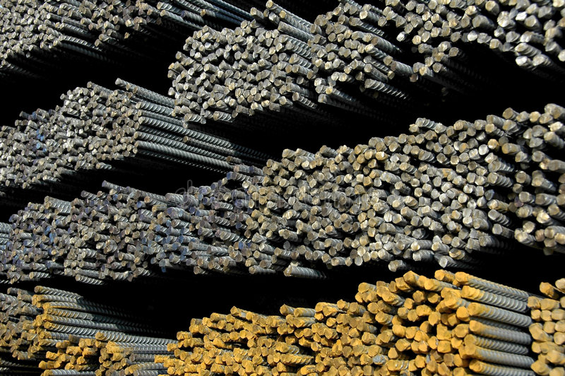 Steel Bars. A Railcar load of Steel Reinforcement Bars used in construction royalty free stock image