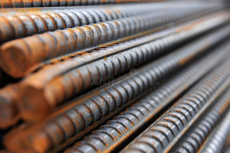 Steel bars. Steel rods or bars used to reinforce concrete. abstract macro with shallow depth of field royalty free stock images