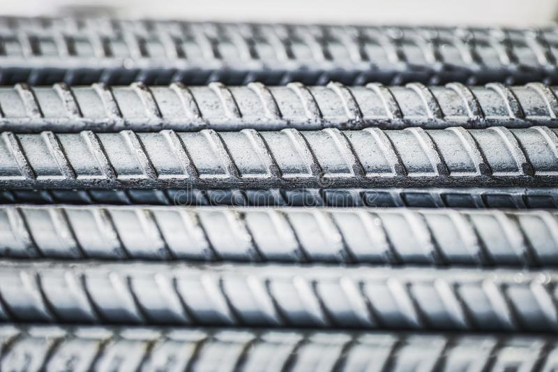 Steel bars close up texture for background industry construction shallow DOF. Steel Bars close up texture for background industry construction stock image