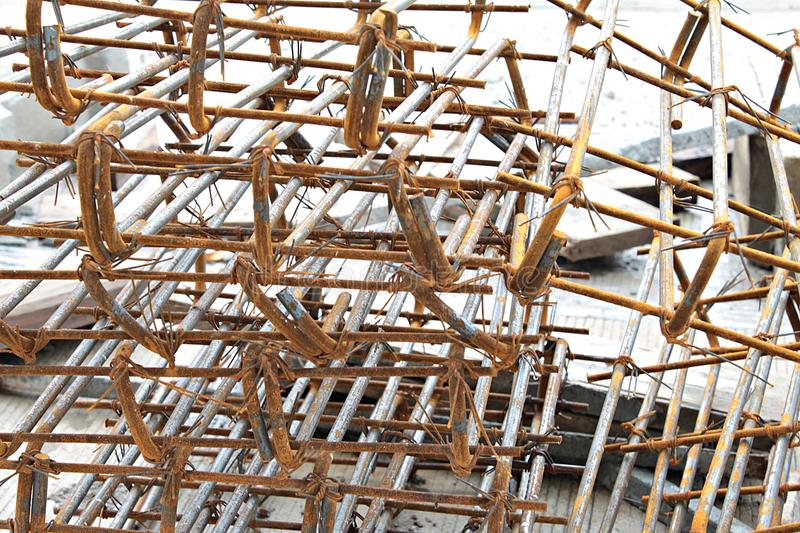 Steel bars construction materials in construction site. Steel bars for construction site, iron cage, steel wire for securing steel bars with wire rod for stock photography