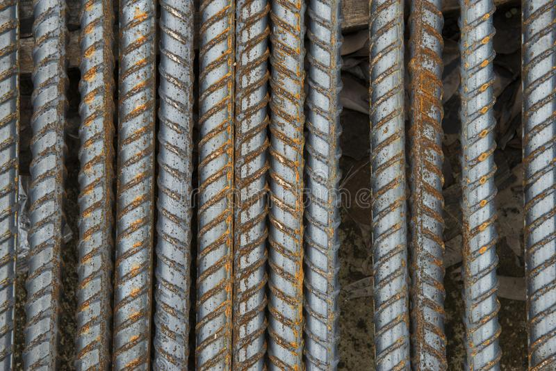 Steel bars.Reinforcing bar.rusty steel bars construction materials, in a construction site stock images
