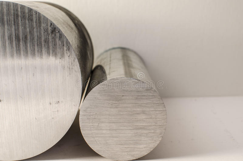 Steel bars. Two steel bars on white background stock photos