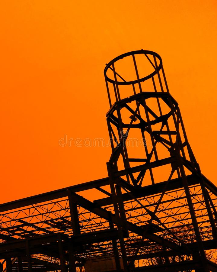 Steel beam building under construction. A steel beam shell of a church being built royalty free stock photography