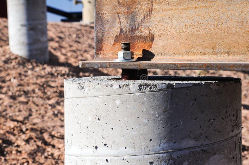 Steel Beam On Concrete Foundation Stock Image Image Of