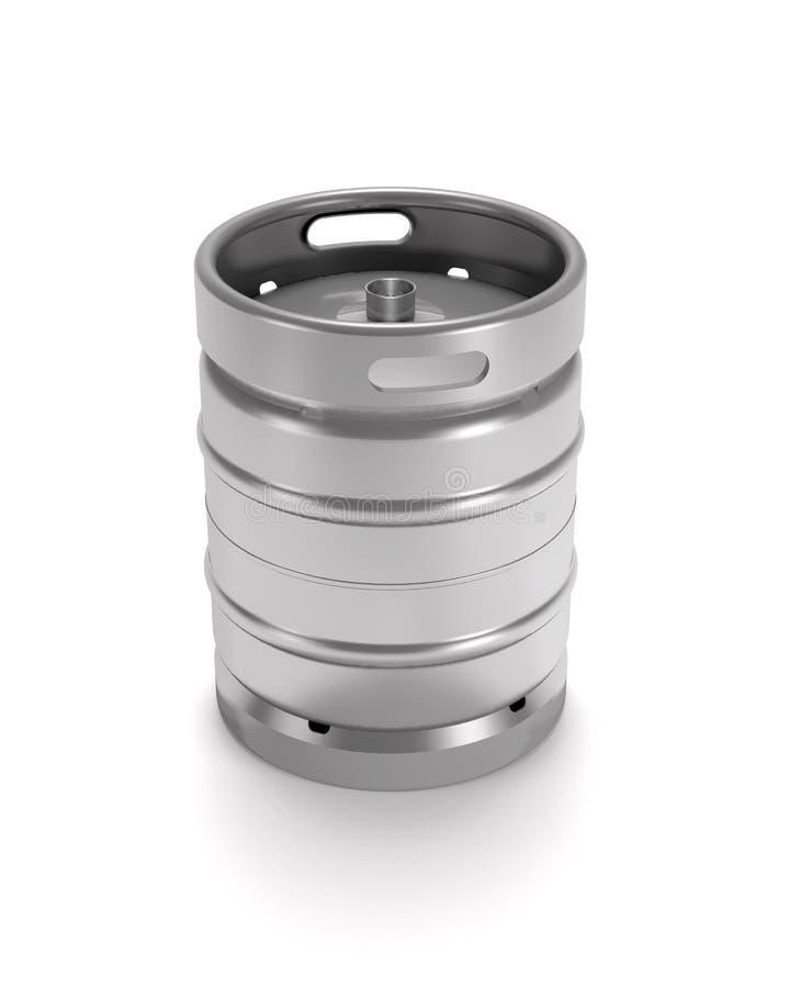 Steel beer keg 3d illustration. Steel beer keg on white background 3d illustration vector illustration