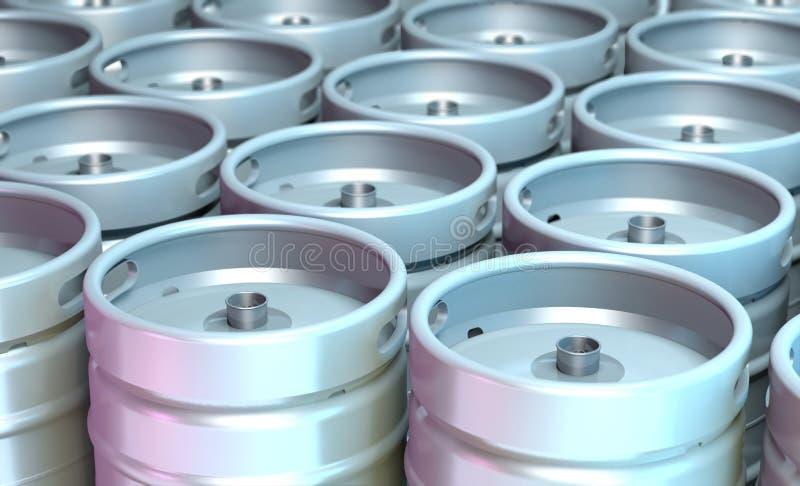 Steel beer kegs 3d illustration. Steel beer kegs in raws 3d illustration stock illustration