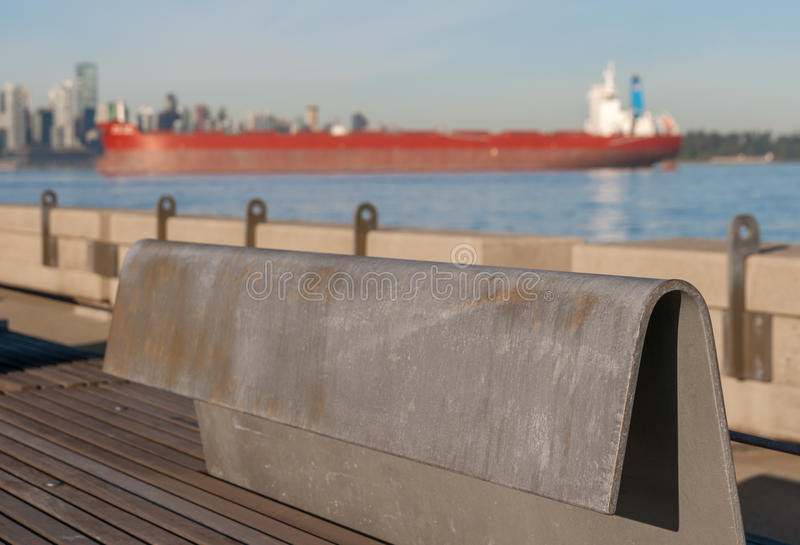 Download Steel Bench On Pier With Ship Stock Image - Image: 34085509