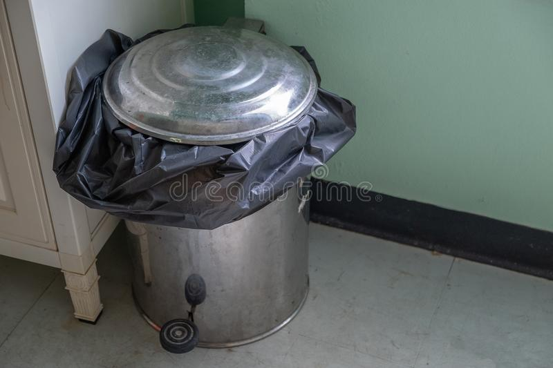 Steel bin in the room royalty free stock photography