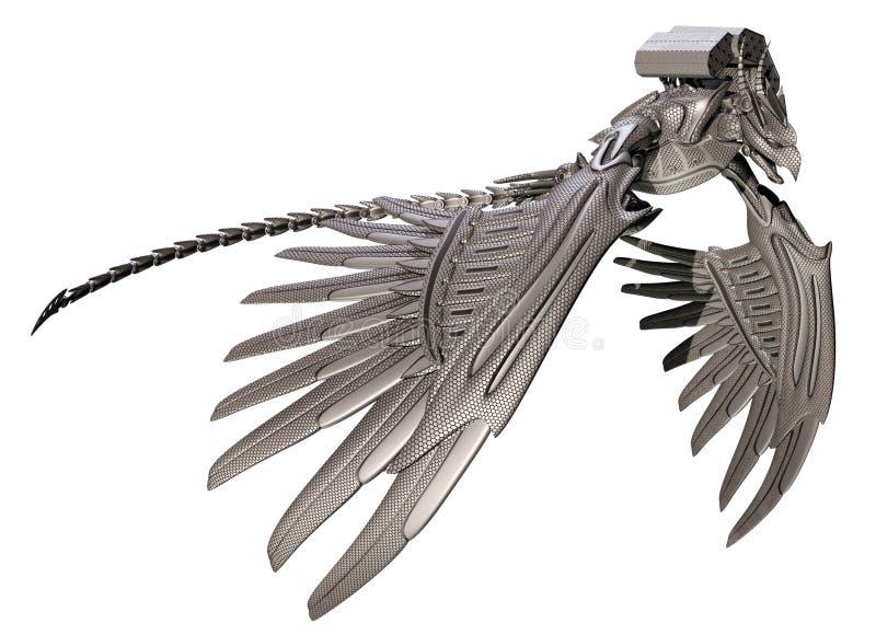 Steel bird. 3D render of a fantasy steel bird royalty free illustration
