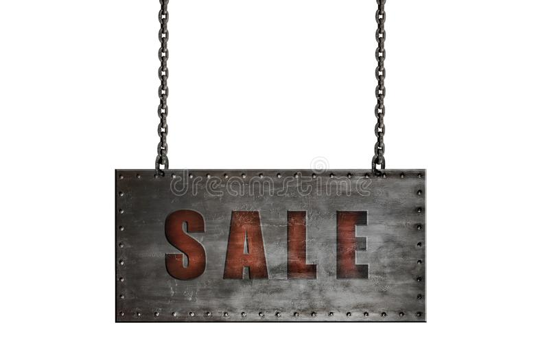 Steel board hang by chain. With text sele , on white background; isolated, sale discount concept stock images