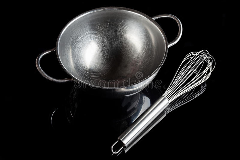 Steel bowl with whisker from high angle with reflection black stock photo