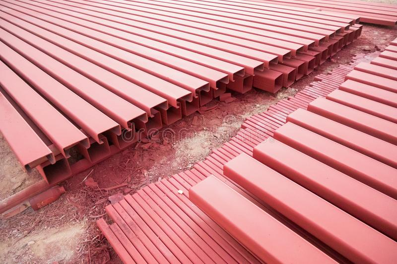 Steel box girder. At construction site stock photography