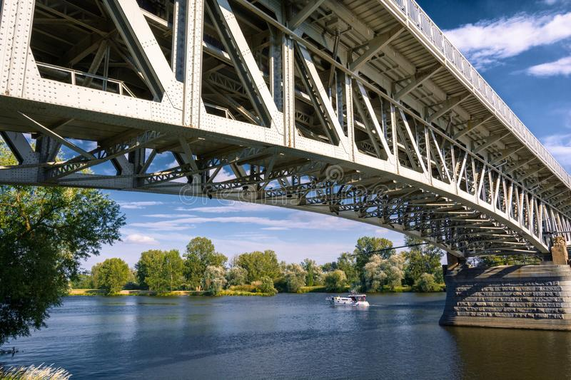 Steel bridge across the river Elbe in the town of Litomerice in the Czech Republic stock images