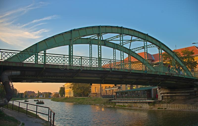 Steel bridge that crosses Begej river in Zrenjanin, Serbia.  royalty free stock image