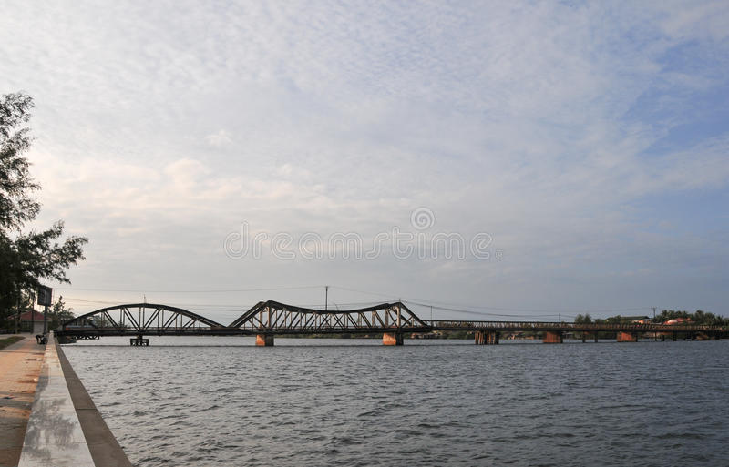 A steel bridge at Hong Ngu town in Dongthap, Vietnam.  royalty free stock photos