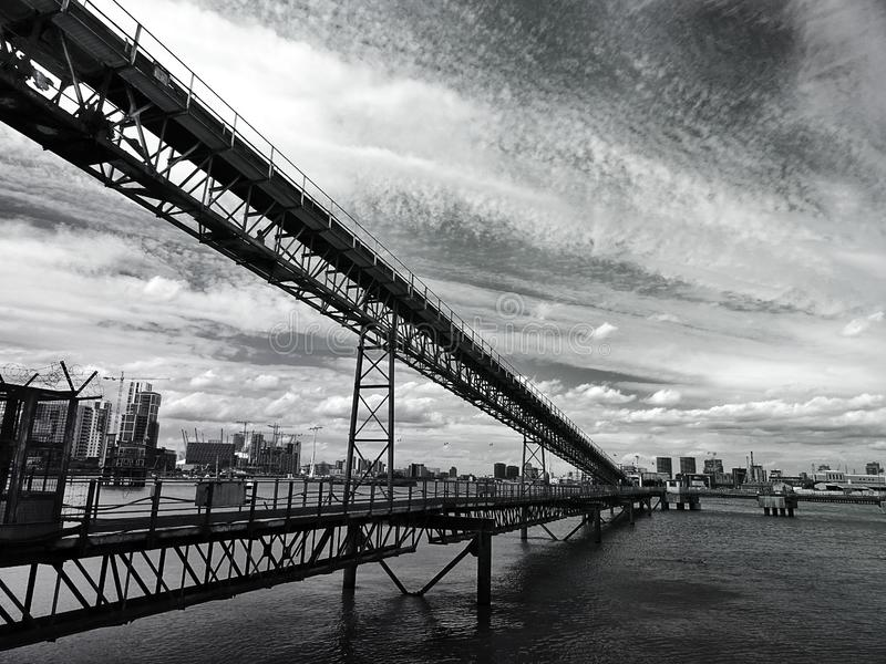 Steel bridge from low angle