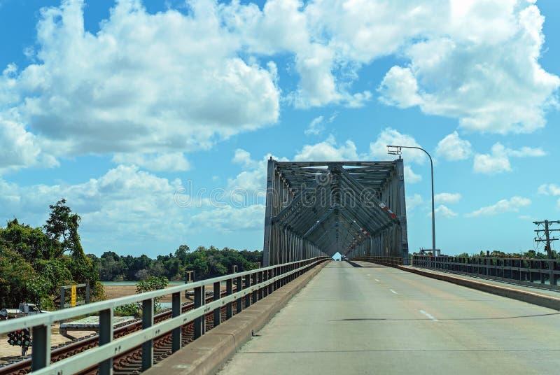 Steel Bridge Over The Burdekin River Australia stock photo