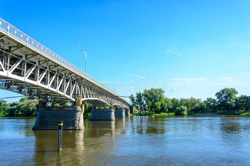 Steel bridge over the Labe river in Litomerice stock photos