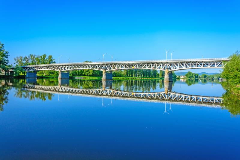 Steel bridge over the Labe river in Litomerice stock photography