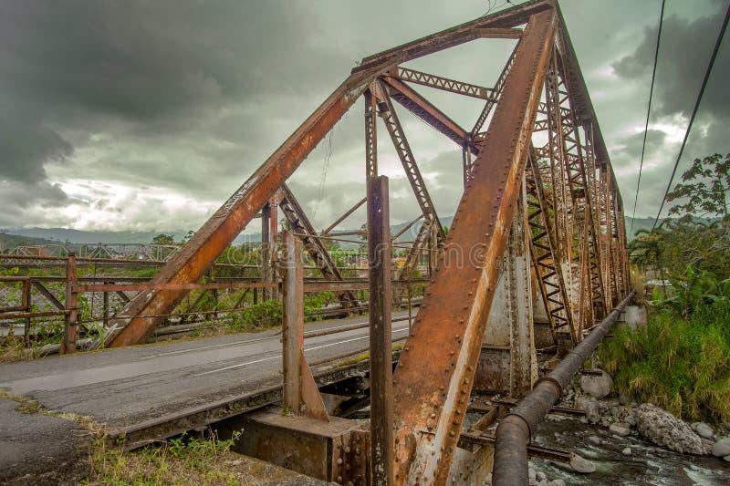 Steel bridge over a river in Costa Rica stock image