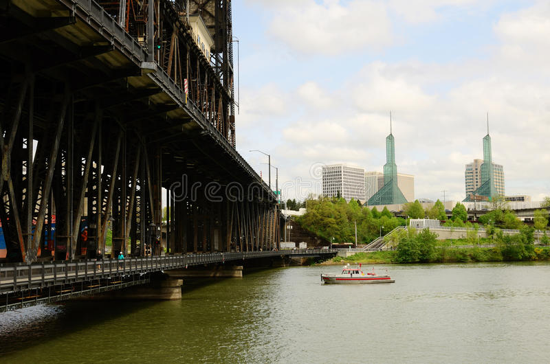 Steel Bridge. Over the Willamette River in Portland Oregon built in 1912 carries both rail, mass transit and some vehicle traffic royalty free stock photography